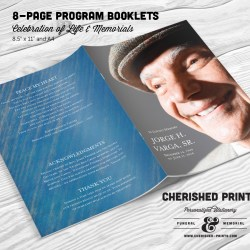 Blue Stripped Texture Modern Multi-Page Funeral Program Booklet
