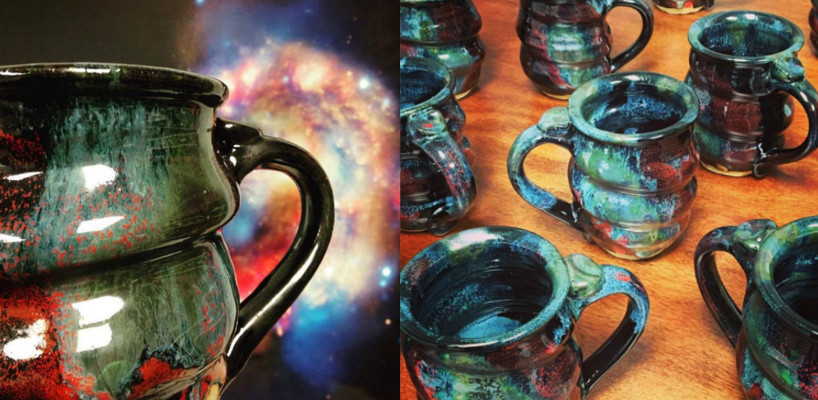 Handmade Cosmic Mugs Pottery, Cherrico Pottery Header for Mailchimp