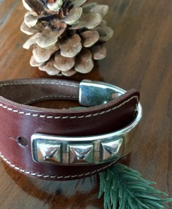 triple stud wide chocolate brown leather half cuff silver bracelet