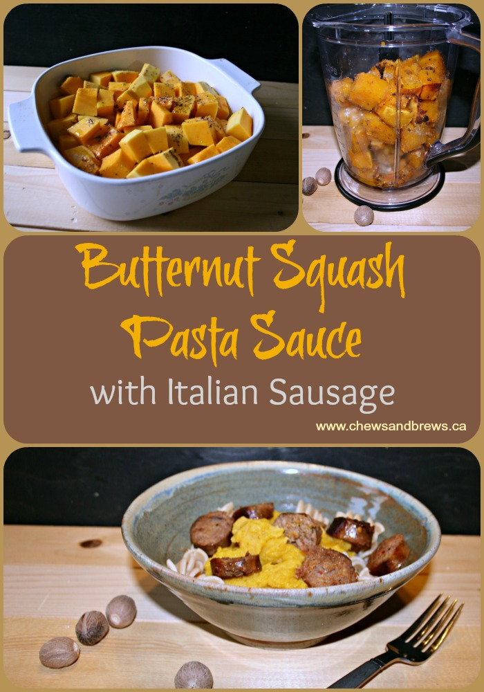 Butternut Squash Sauce with Italian Sausage Pasta ~ Chews and Brews