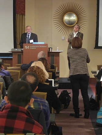 Charlie Rice and moderator Lou Laimins answering questions after Charlie's talk