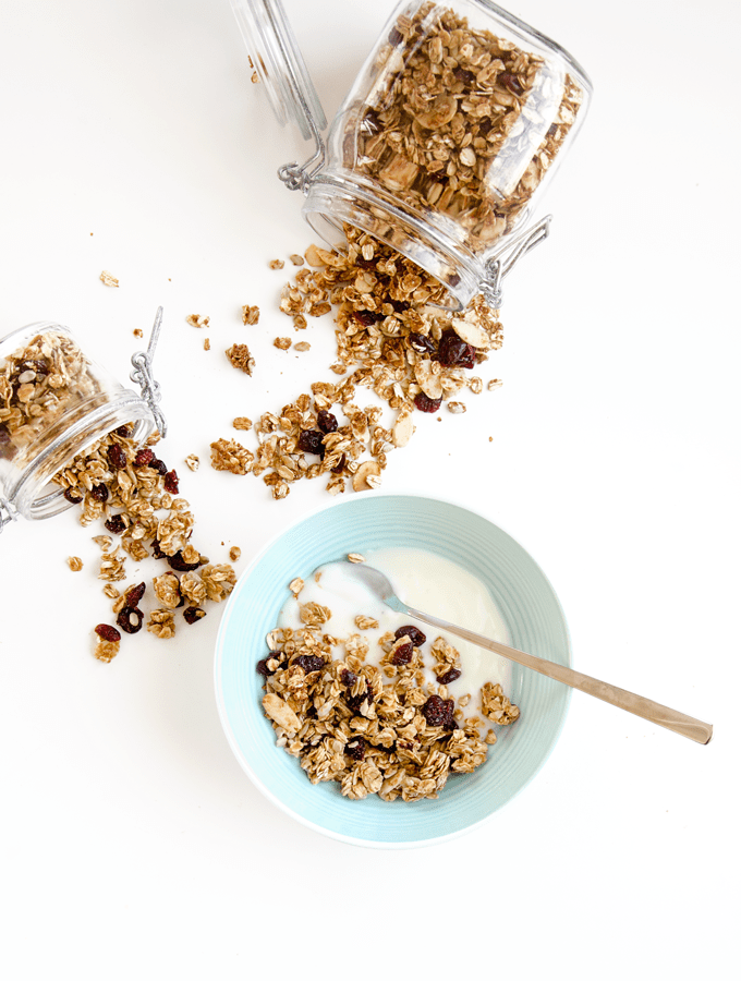 Honey, Almond and Cranberry Granola. I love these for the delicious clumps of sweet, chewy goodness! I like to eat it with some vanilla yogurt. YUM! | www.chicandsugar.com