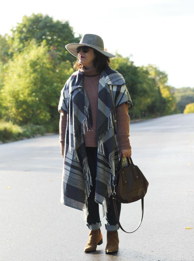 fall plaid blanket cape