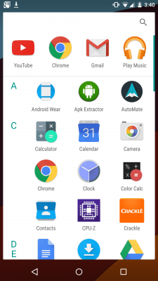 Android M - drawer verticale