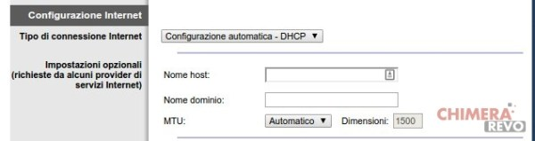Connessione automatica DHCP