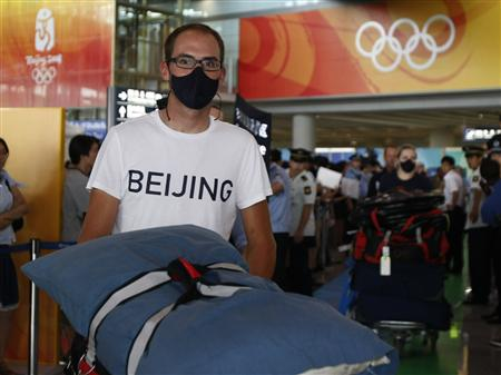 American cyclist Bobby Lea arrives in Beijing for 2008 Olympic Games