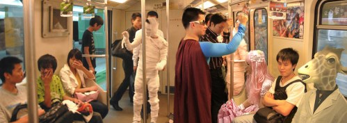 Shanghai metro costume people panoramic photoshop.
