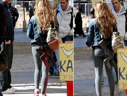 Two pictures of a Jewish girl in Israel carrying an assault rifle with her purse.