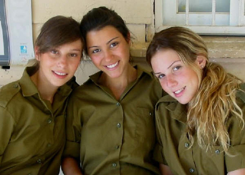 Three Jewish girls in the Israeli IDF military.