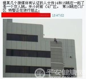Foxconn 16th possible suicide jumper.