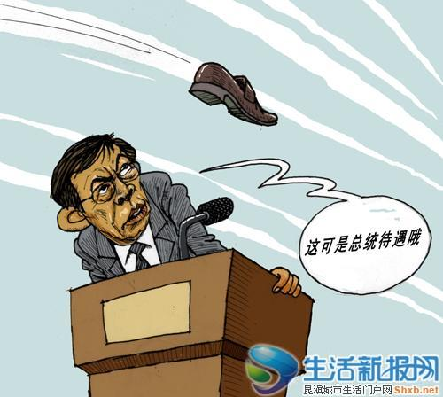 Cartoon depicting the shoe-throwing incident of property developer Ren Zhiqiang.