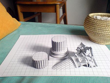 3D chalk art: columns.