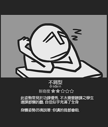 Chinese student sleeping positions: Disdain
