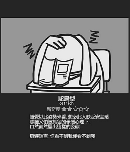 Chinese student sleeping positions: Ostrich