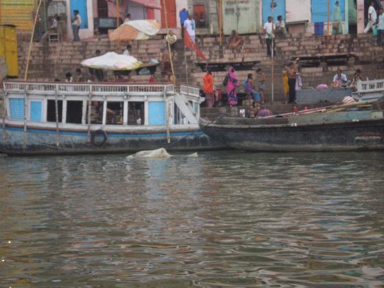 India, a ship drags a dead human body in the river.