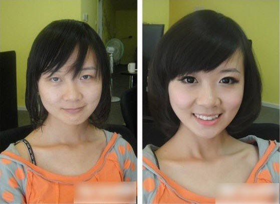Before and after photos of Chinese girls with and without make-up.