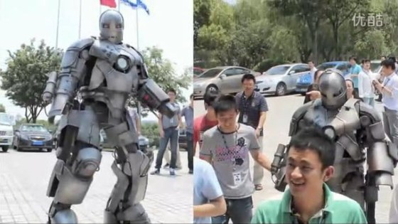 A Chinese person in his recreated Iron Man MK I armor.