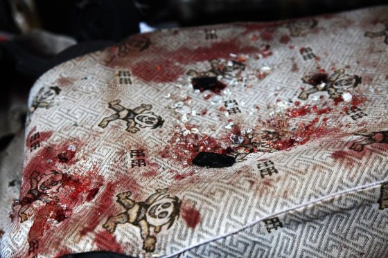 A blood-stained seat from the Gansu school bus accident tragedy.