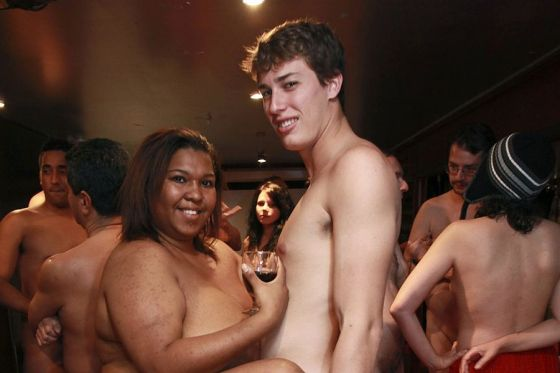 Young Americans at a naked party in New York.