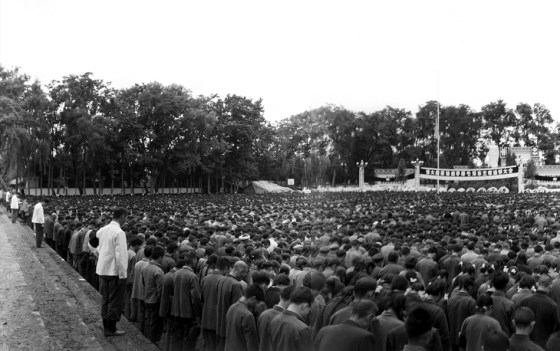 Masses of Chinese people mourning the death of Mao Zedong in 1976.