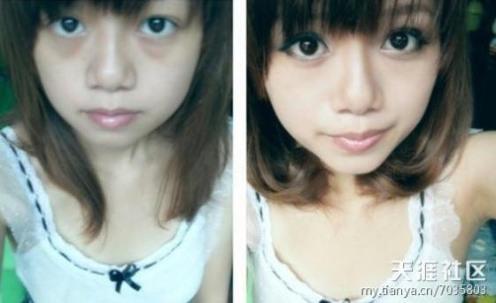 Chinese girls before and after makeup comparisons.