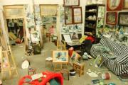 A miniature artist's studio made by a Xi'an Academy of Fine Arts student.
