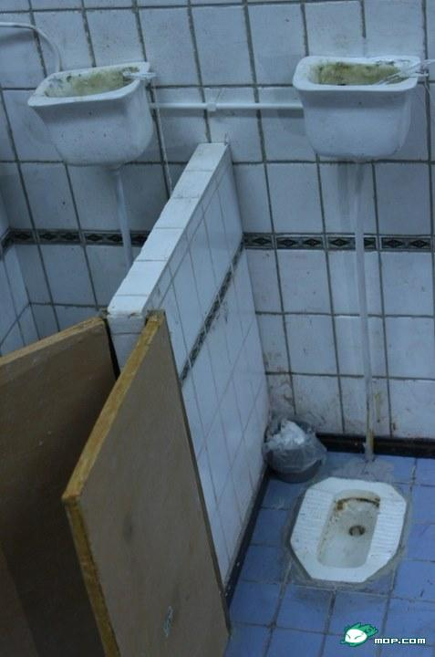 A disgustingly filthy scale model of a Chinese restroom.