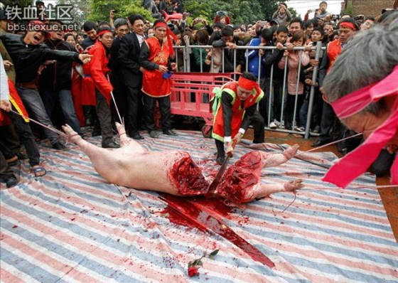 A live pig is chopped in half during a Doan Thuong festival ceremony in Nem Thuong village of Bac Ninh province of Vietnam.