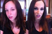 Jada Stevens, porn actress, before and after makeup comparison photo.