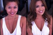 Charmane Star, porn actress, before and after makeup comparison photo.