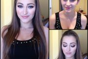 Dani Daniels, porn actress, before and after makeup comparison photo.