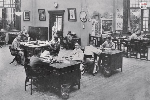 At the beginning of the 20th century, movies were one of the most important entertainments for people in Shanghai. In the 1920s, Shanghai had 40,000 theater seats, extremely high attendance, and the most popular movies were wuxia [martial arts] and family dramas. Photo is of the office of the Star Film and Theater School that was founded in 1922. This company made many of the most successful films of the time as well as trained a group of the most dazzling stars of the Shanghai Bund. (Photo source: Shanghai: 1842-2010, Portrait of a Great City Post Wave Publishing)