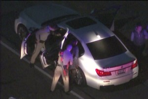 UCI and Chinese study-abroad student Zhou Yuan being arrested by California police after a high-speed chase in Los Angeles.