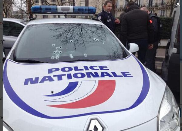 Photo is of police vehicle at the scene that was attacked.