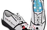 Retro Style Kissin' Mickey & Minnie Signature Art Disney Sneakers