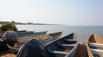 Boats with a view of the lake Bangweulu