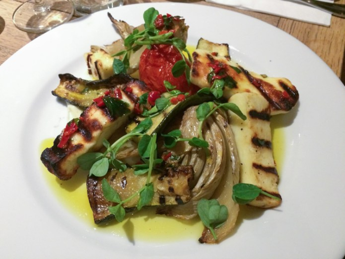 Grilled Halloumi, Courgette, Roasted Tomato and Fennel Salad