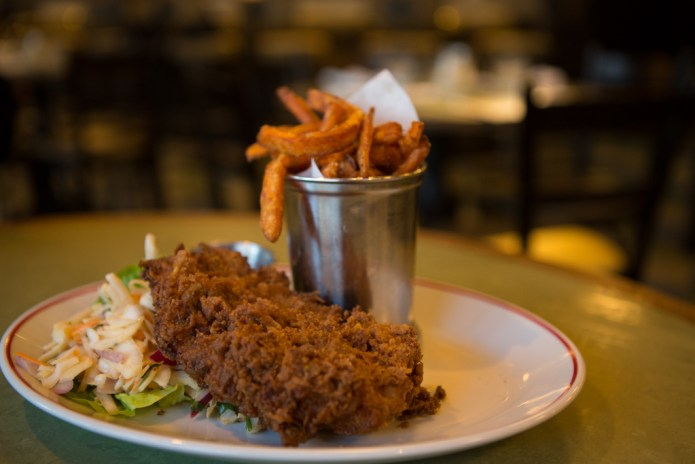 £11.95 - Buttermilk chicken with sweet potato fries and spicy slaw