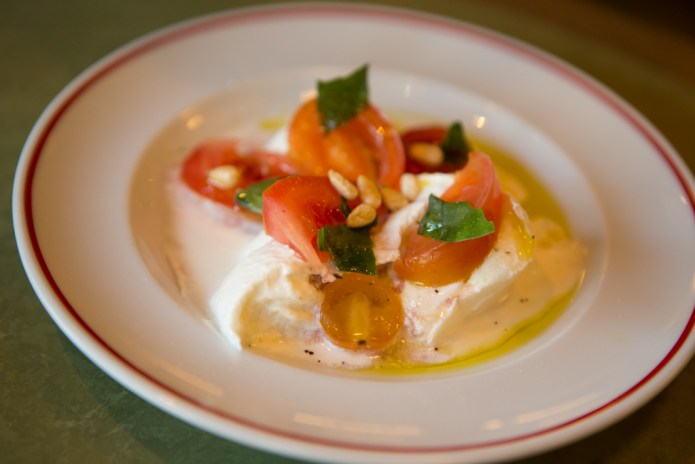 £6.95 - Buffalo mozzarella in creme fraiche, tomatoes, and basil
