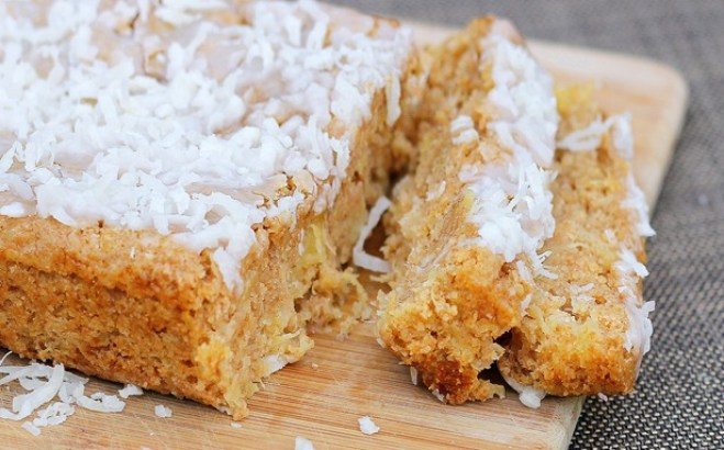 Soft and luxurious coconut breakfast cake is a family favorite in my house. Whenever we don't know what to have for breakfast, we'll make this recipe! It is highly recommended! http://chocolatecoveredkatie.com/2012/04/11/big-fat-coconut-breakfast-cake-2/