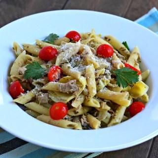 one pot tuna pesto pasta