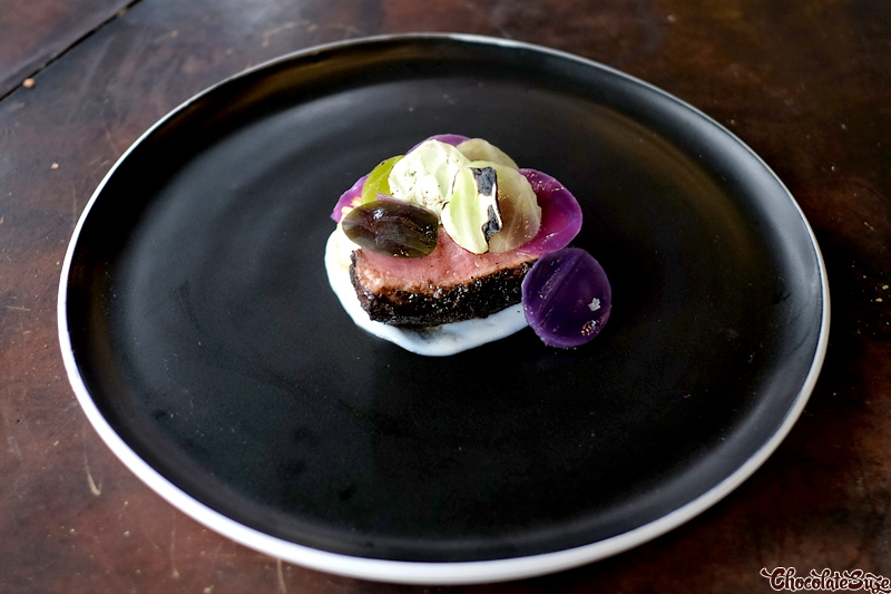 Veal loin, braised, pickled, raw, scorched cabbage at Vue de monde, Melbourne