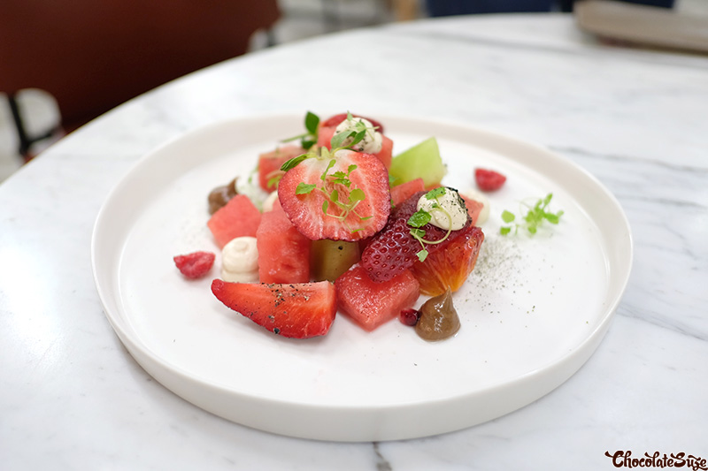 Fruit salad with Cascara labne at Five Senses Pop-Up, Surry Hills