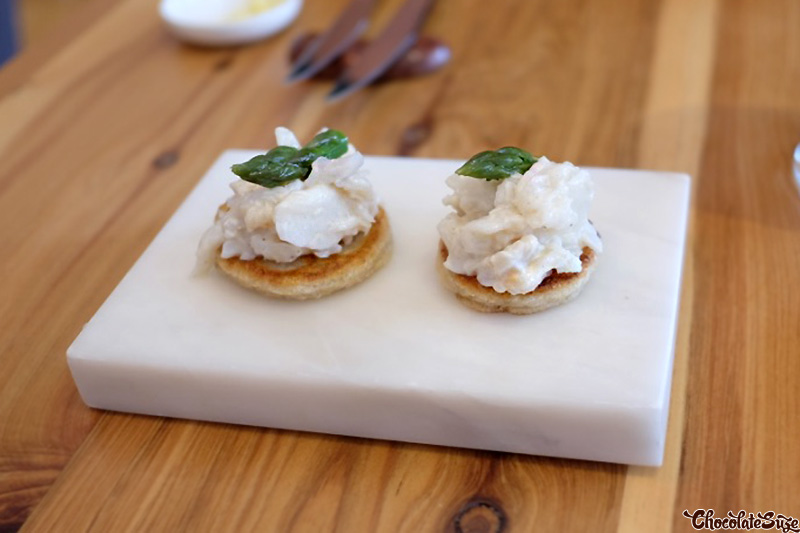 Spanner Crab Blini at Moxhe, Bronte
