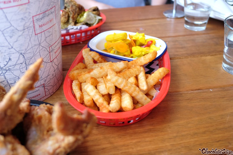 Fries and Pickles at Belles Hot Chicken, Barangaroo