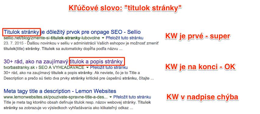 Titulok stránky - vyhľadávač Google