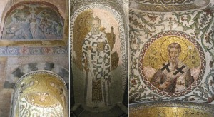 Fethiye Camii - Parecclesion: side nave: (left) mosaics portraying the Baptism of Christ and several saints; (centre) St. Gregory of Nasanzius; (right) St. Gregory from Armenia