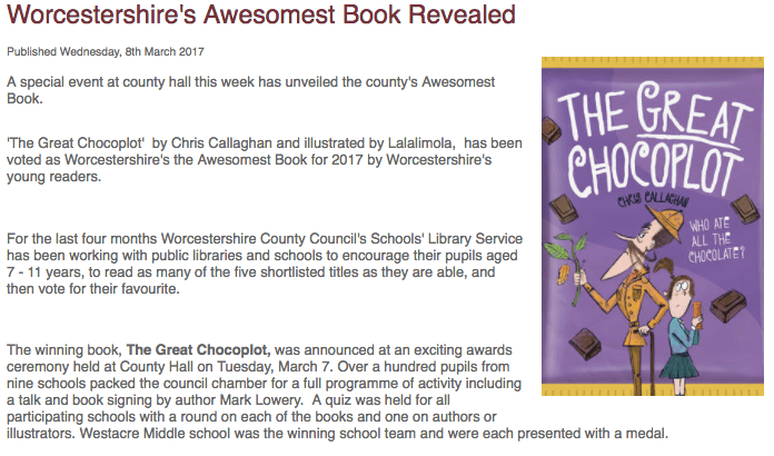 The Great Chocoplot, Chris Callaghan, Worcestershire's Awesomest Book Award