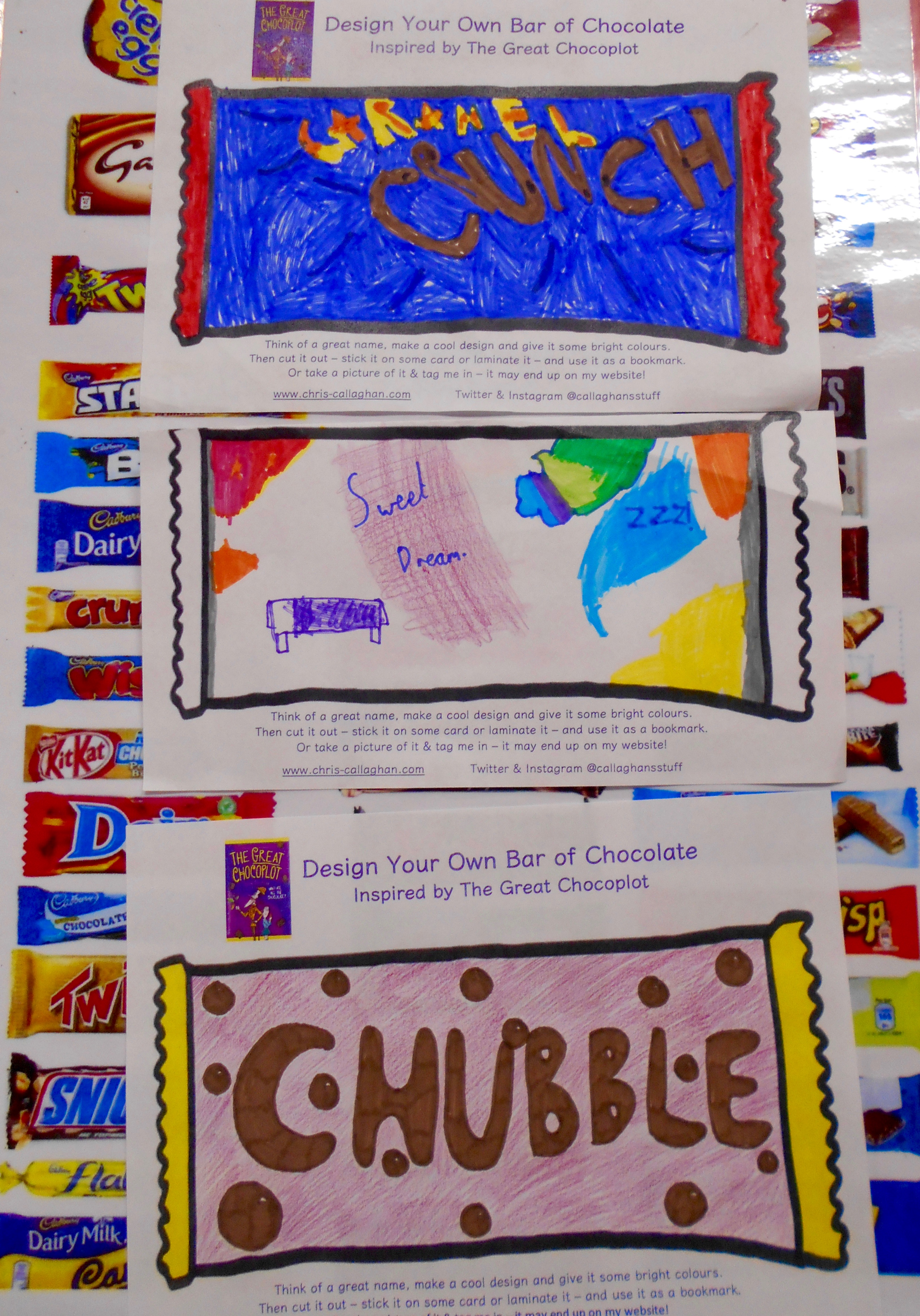 Beth, Amelia and Jennifer at Norton Library designed some brilliant bars of chocolate. I'd definitely buy them!!