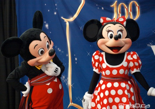 Mickey Mouse and Minnie Mouse